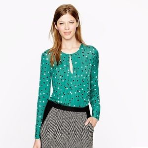 J. Crew silk pleated blouse abstract dot $135 XS S